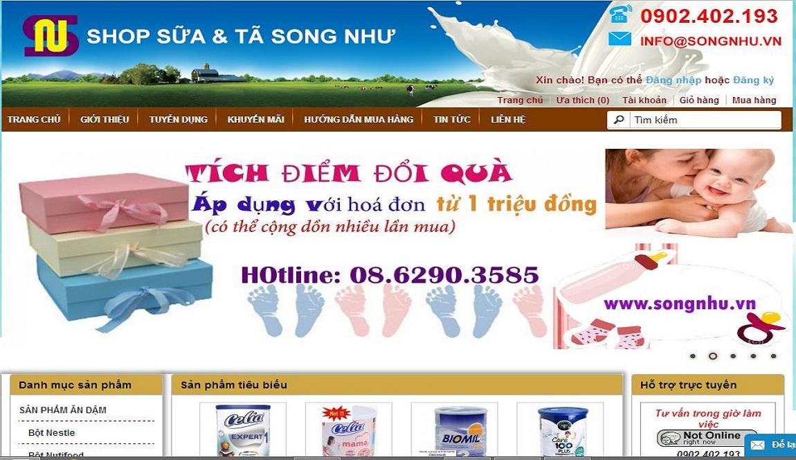 Thiết kế website sữa và tã song như