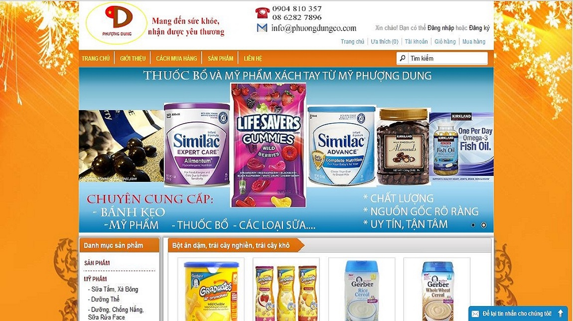 Thiết kế website thuốc bổ Phượng Dung